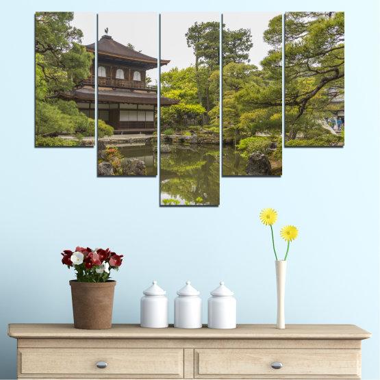Декоративни панели и картини от канава - от 5 части №0667 » Зелен, Кафяв, Сив, Бял, Тъмно сив » Природа, Вода, Езеро, Къща, Китай Form #6