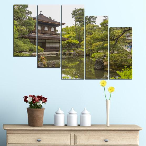Декоративни панели и картини от канава - от 5 части №0667 » Зелен, Кафяв, Сив, Бял, Тъмно сив » Природа, Вода, Езеро, Къща, Китай Form #7