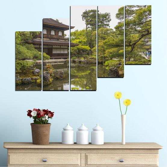 Декоративни панели и картини от канава - от 5 части №0667 » Зелен, Кафяв, Сив, Бял, Тъмно сив » Природа, Вода, Езеро, Къща, Китай Form #8
