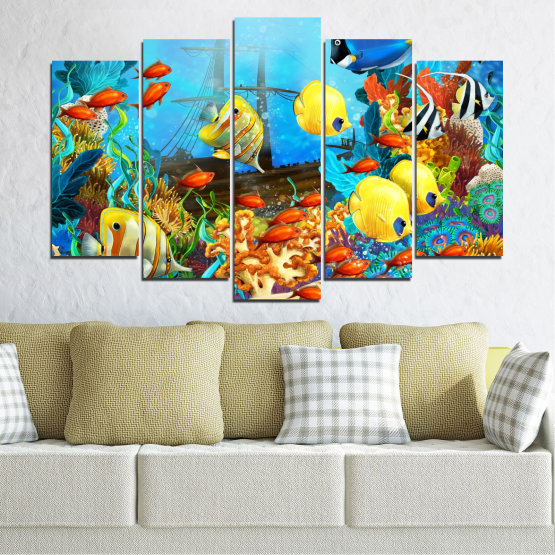 Canvas prints & wall decorative panels - 5 pieces №0668 » Blue, Turquoise, Yellow, Brown, Dark grey » Sea, Water, Fish Form #1