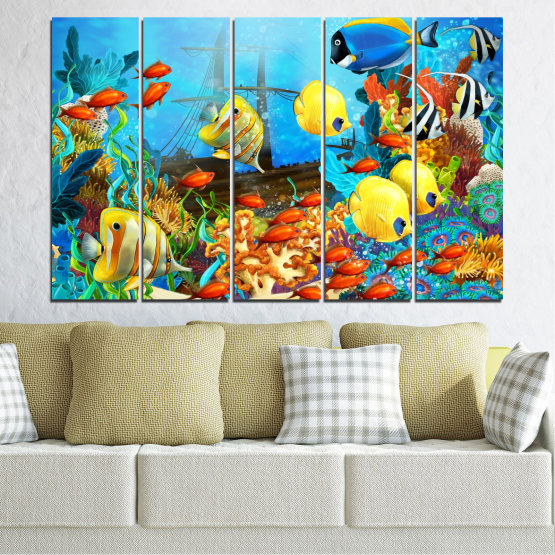 Canvas prints & wall decorative panels - 5 pieces №0668 » Blue, Turquoise, Yellow, Brown, Dark grey » Sea, Water, Fish Form #2