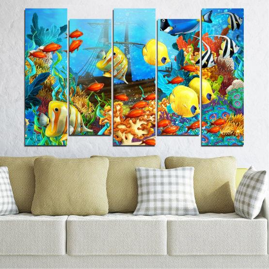 Декоративни панели и картини от канава - от 5 части №0668 » Син, Тюркоаз, Жълт, Кафяв, Тъмно сив » Вода, Море, Риба Form #3