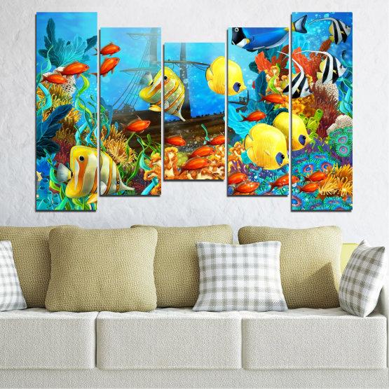 Декоративни панели и картини от канава - от 5 части №0668 » Син, Тюркоаз, Жълт, Кафяв, Тъмно сив » Вода, Море, Риба Form #4