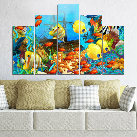 Canvas prints & wall decorative panels - 5 pieces №0668 » Blue, Turquoise, Yellow, Brown, Dark grey » Water, Sea, Fish Form #5