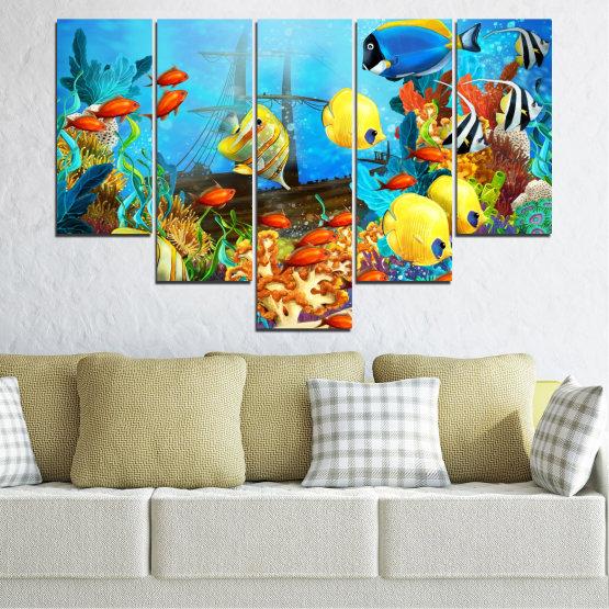 Декоративни панели и картини от канава - от 5 части №0668 » Син, Тюркоаз, Жълт, Кафяв, Тъмно сив » Вода, Море, Риба Form #6