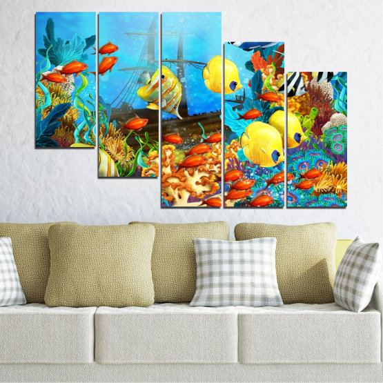 Canvas prints & wall decorative panels - 5 pieces №0668 » Blue, Turquoise, Yellow, Brown, Dark grey » Sea, Water, Fish Form #7