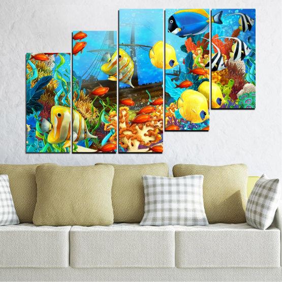 Декоративни панели и картини от канава - от 5 части №0668 » Син, Тюркоаз, Жълт, Кафяв, Тъмно сив » Вода, Море, Риба Form #8