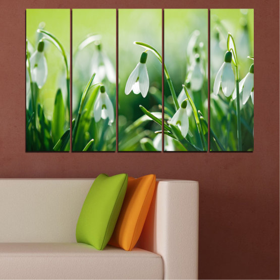 Canvas prints & wall decorative panels - 5 pieces №0669 » Green, Gray, Beige » Flowers, Nature, Spring, Galanthus Form #2