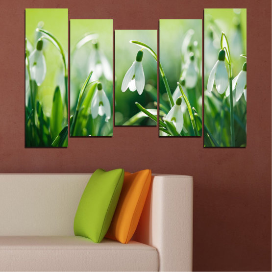 Декоративни панели и картини от канава - от 5 части №0669 » Зелен, Сив, Бежов » Природа, Цветя, Пролет, Кокиче Form #4