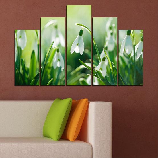 Декоративни панели и картини от канава - от 5 части №0669 » Зелен, Сив, Бежов » Природа, Цветя, Пролет, Кокиче Form #5