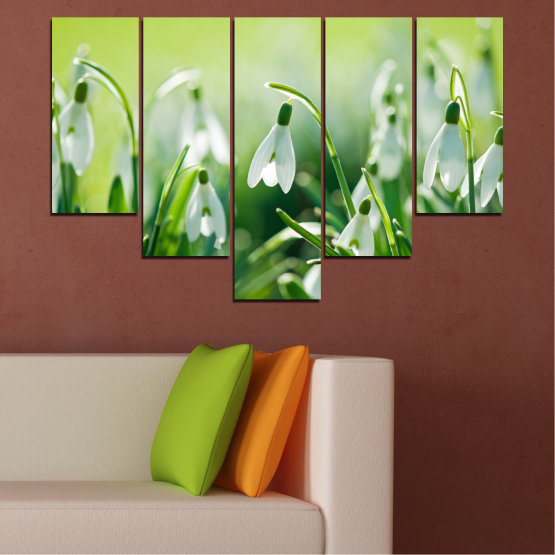 Декоративни панели и картини от канава - от 5 части №0669 » Зелен, Сив, Бежов » Природа, Цветя, Пролет, Кокиче Form #6