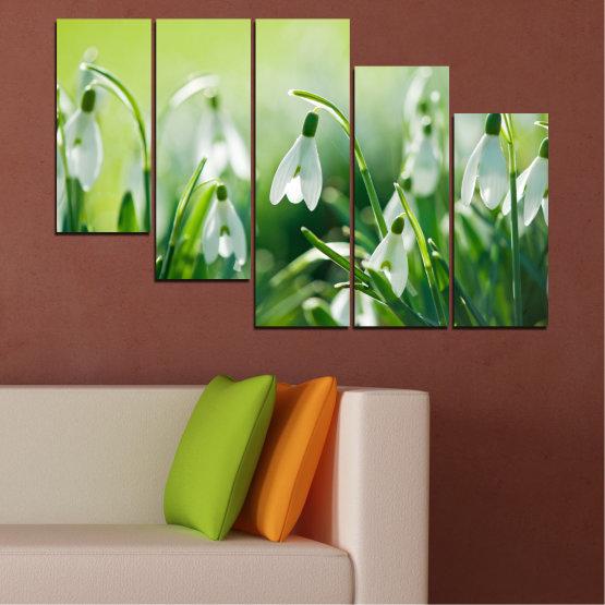 Декоративни панели и картини от канава - от 5 части №0669 » Зелен, Сив, Бежов » Природа, Цветя, Пролет, Кокиче Form #7