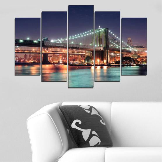 Canvas prints & wall decorative panels - 5 pieces №0067 » Orange, Brown, Black, Gray, Dark grey » Water, City, Night, New york, Bridge, Usa Form #1