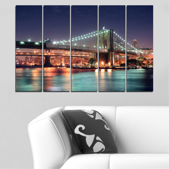 Canvas prints & wall decorative panels - 5 pieces №0067 » Orange, Brown, Black, Gray, Dark grey » Water, City, Night, New york, Bridge, Usa Form #2