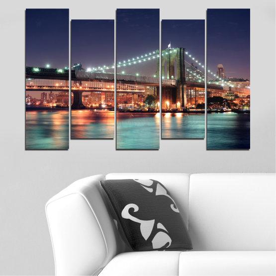 Canvas prints & wall decorative panels - 5 pieces №0067 » Orange, Brown, Black, Gray, Dark grey » Water, City, Night, New york, Bridge, Usa Form #3