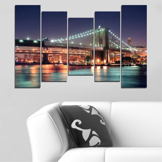 Canvas prints & wall decorative panels - 5 pieces №0067 » Orange, Brown, Black, Gray, Dark grey » Water, City, Night, New york, Bridge, Usa Form #4