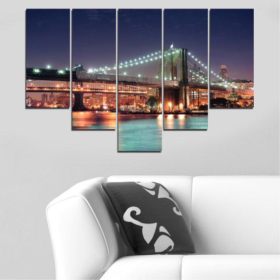 Canvas prints & wall decorative panels - 5 pieces №0067 » Orange, Brown, Black, Gray, Dark grey » Water, City, Night, New york, Bridge, Usa Form #6