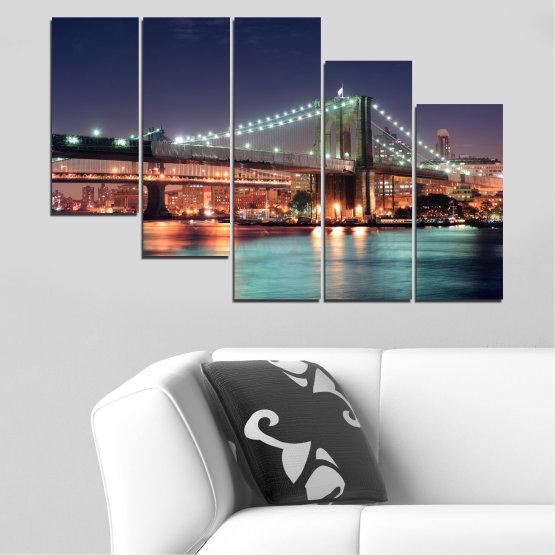 Canvas prints & wall decorative panels - 5 pieces №0067 » Orange, Brown, Black, Gray, Dark grey » Water, City, Night, New york, Bridge, Usa Form #7