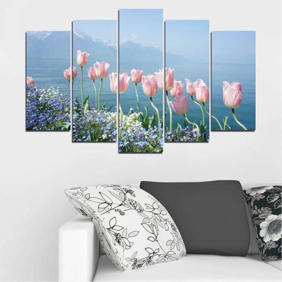 Canvas prints & wall decorative panels - 5 pieces №0670 » Blue, Gray, Dark grey » Nature, Flowers, Spring, Tulip Form #1