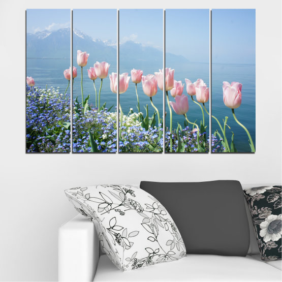 Canvas prints & wall decorative panels - 5 pieces №0670 » Blue, Gray, Dark grey » Nature, Flowers, Spring, Tulip Form #2
