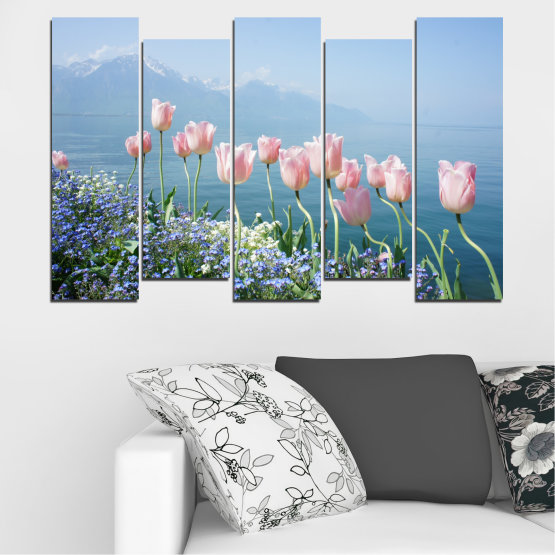 Canvas prints & wall decorative panels - 5 pieces №0670 » Blue, Gray, Dark grey » Nature, Flowers, Spring, Tulip Form #3