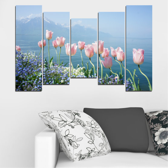 Canvas prints & wall decorative panels - 5 pieces №0670 » Blue, Gray, Dark grey » Nature, Flowers, Spring, Tulip Form #4