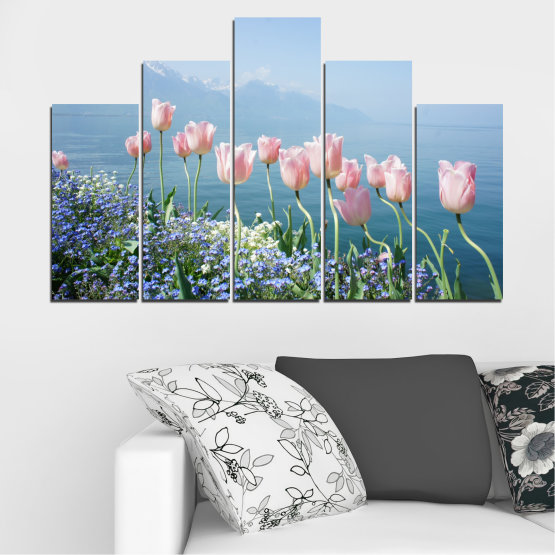 Canvas prints & wall decorative panels - 5 pieces №0670 » Blue, Gray, Dark grey » Nature, Flowers, Spring, Tulip Form #5