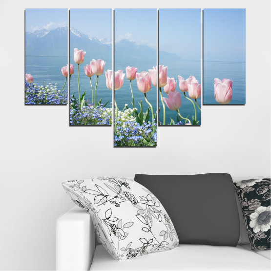 Canvas prints & wall decorative panels - 5 pieces №0670 » Blue, Gray, Dark grey » Nature, Flowers, Spring, Tulip Form #6