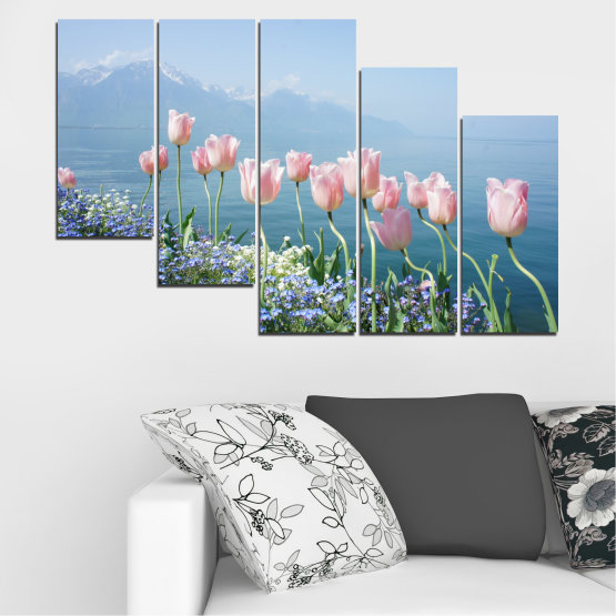 Canvas prints & wall decorative panels - 5 pieces №0670 » Blue, Gray, Dark grey » Nature, Flowers, Spring, Tulip Form #7