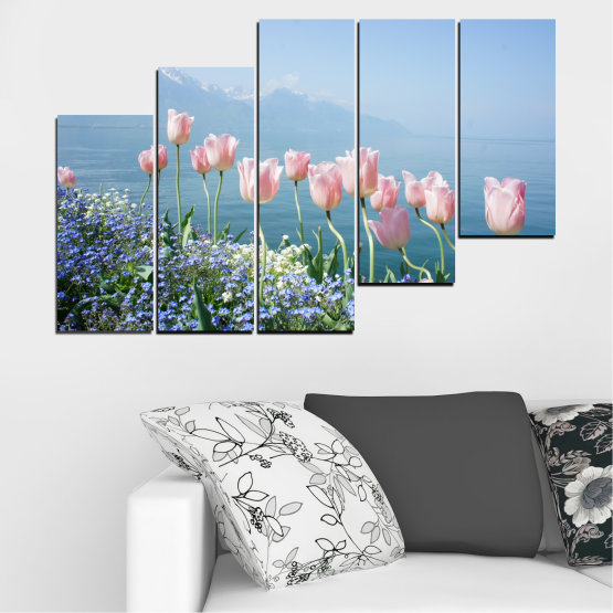 Canvas prints & wall decorative panels - 5 pieces №0670 » Blue, Gray, Dark grey » Nature, Flowers, Spring, Tulip Form #8