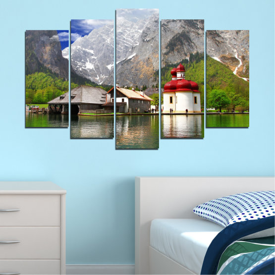 Canvas prints & wall decorative panels - 5 pieces №0671 » Green, Gray, White, Dark grey » Water, Mountain, Lake, House Form #1