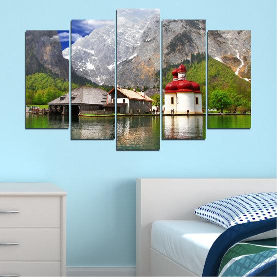 Декоративни панели и картини от канава - от 5 части №0671 » Зелен, Сив, Бял, Тъмно сив » Вода, Планина, Езеро, Къща Form #1