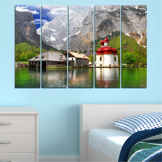 Canvas prints & wall decorative panels - 5 pieces №0671 » Green, Gray, White, Dark grey » Water, Mountain, Lake, House Form #2