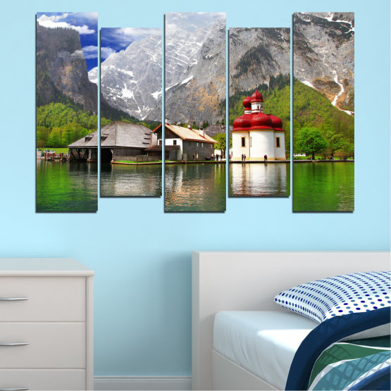 Canvas prints & wall decorative panels - 5 pieces №0671 » Green, Gray, White, Dark grey » Water, Mountain, Lake, House Form #3