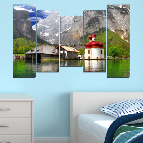 Canvas prints & wall decorative panels - 5 pieces №0671 » Green, Gray, White, Dark grey » Water, Mountain, Lake, House Form #4