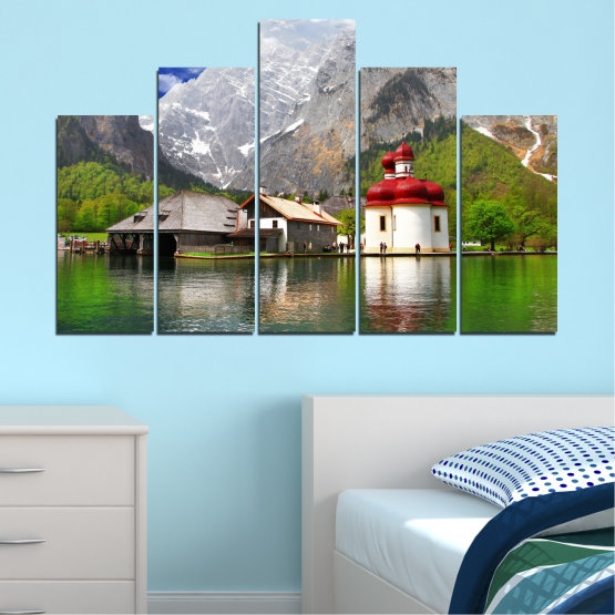 Canvas prints & wall decorative panels - 5 pieces №0671 » Green, Gray, White, Dark grey » Water, Mountain, Lake, House Form #5