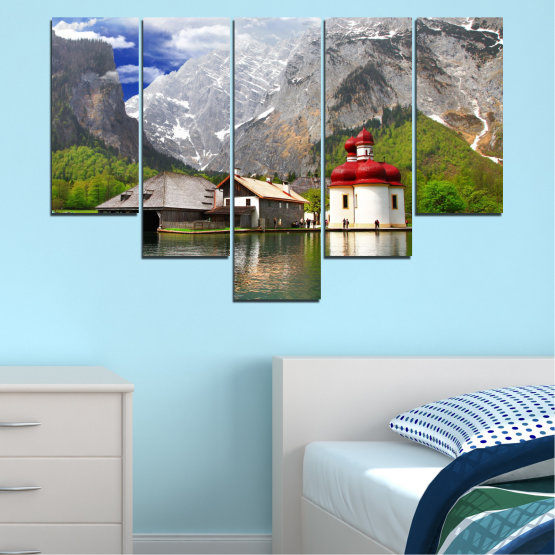 Canvas prints & wall decorative panels - 5 pieces №0671 » Green, Gray, White, Dark grey » Water, Mountain, Lake, House Form #6