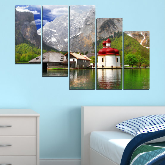 Canvas prints & wall decorative panels - 5 pieces №0671 » Green, Gray, White, Dark grey » Water, Mountain, Lake, House Form #7