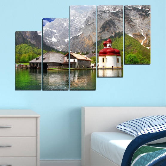 Canvas prints & wall decorative panels - 5 pieces №0671 » Green, Gray, White, Dark grey » Water, Mountain, Lake, House Form #8