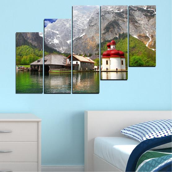 Декоративни панели и картини от канава - от 5 части №0671 » Зелен, Сив, Бял, Тъмно сив » Вода, Планина, Езеро, Къща Form #8