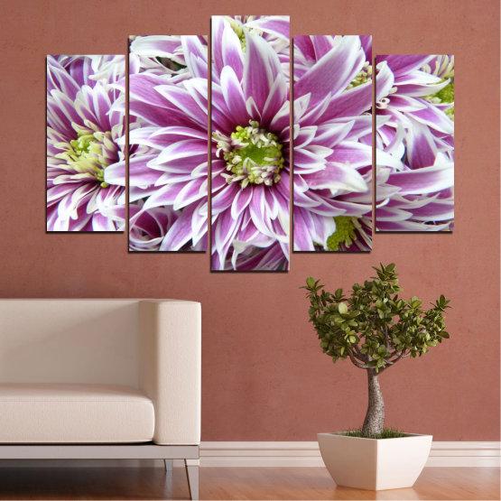 Εκτύπωση σε καμβά και διακοσμητικά πάνελ τοίχου - 5 τεμάχια №0672 » Μωβ, Γκρί, Άσπρο, Σκούρο γκρι » Λουλούδια, Άνοιξη, Μπουκέτο Form #1