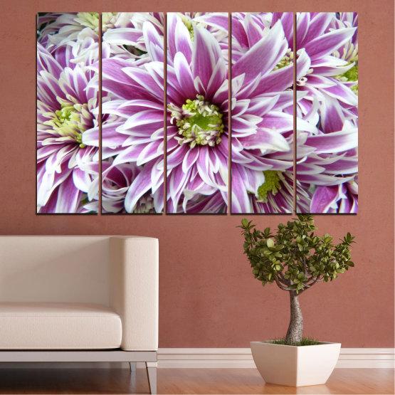 Εκτύπωση σε καμβά και διακοσμητικά πάνελ τοίχου - 5 τεμάχια №0672 » Μωβ, Γκρί, Άσπρο, Σκούρο γκρι » Λουλούδια, Άνοιξη, Μπουκέτο Form #2