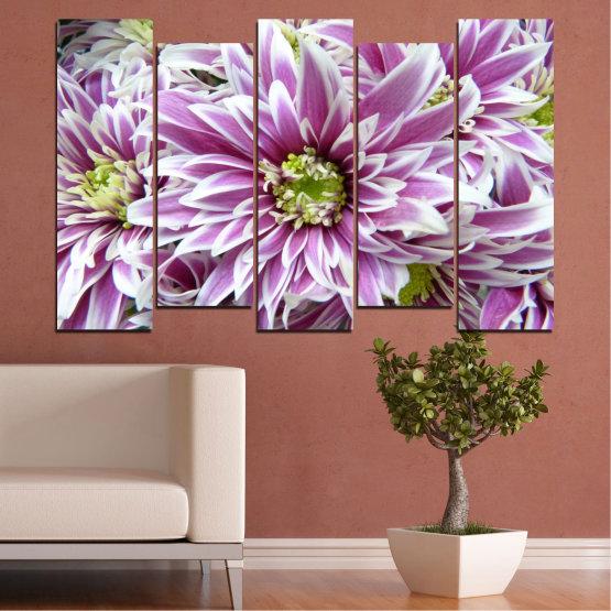 Εκτύπωση σε καμβά και διακοσμητικά πάνελ τοίχου - 5 τεμάχια №0672 » Μωβ, Γκρί, Άσπρο, Σκούρο γκρι » Λουλούδια, Άνοιξη, Μπουκέτο Form #3