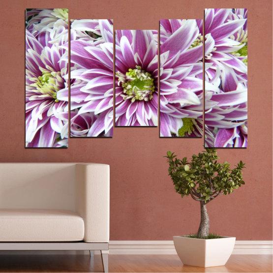 Εκτύπωση σε καμβά και διακοσμητικά πάνελ τοίχου - 5 τεμάχια №0672 » Μωβ, Γκρί, Άσπρο, Σκούρο γκρι » Λουλούδια, Άνοιξη, Μπουκέτο Form #4