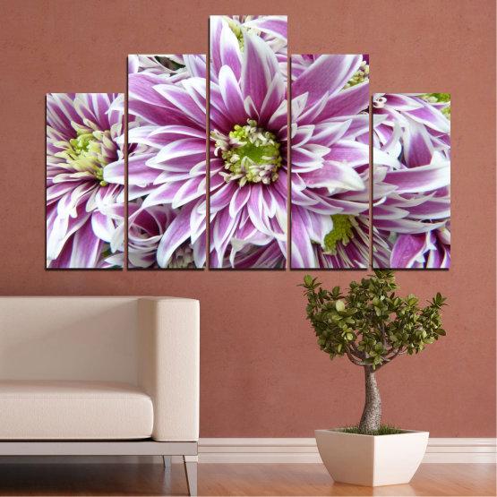 Εκτύπωση σε καμβά και διακοσμητικά πάνελ τοίχου - 5 τεμάχια №0672 » Μωβ, Γκρί, Άσπρο, Σκούρο γκρι » Λουλούδια, Άνοιξη, Μπουκέτο Form #5