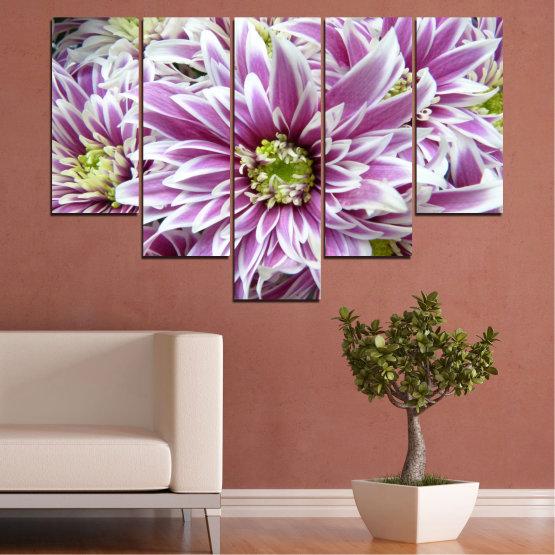 Εκτύπωση σε καμβά και διακοσμητικά πάνελ τοίχου - 5 τεμάχια №0672 » Μωβ, Γκρί, Άσπρο, Σκούρο γκρι » Λουλούδια, Άνοιξη, Μπουκέτο Form #6