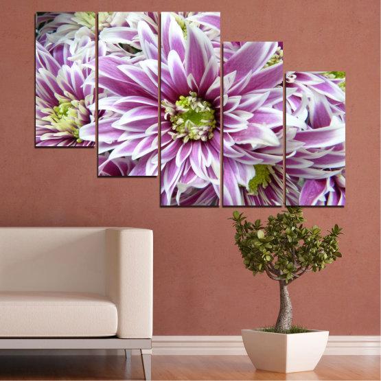 Εκτύπωση σε καμβά και διακοσμητικά πάνελ τοίχου - 5 τεμάχια №0672 » Μωβ, Γκρί, Άσπρο, Σκούρο γκρι » Λουλούδια, Άνοιξη, Μπουκέτο Form #7