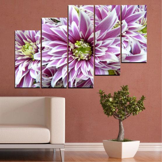 Εκτύπωση σε καμβά και διακοσμητικά πάνελ τοίχου - 5 τεμάχια №0672 » Μωβ, Γκρί, Άσπρο, Σκούρο γκρι » Λουλούδια, Άνοιξη, Μπουκέτο Form #8