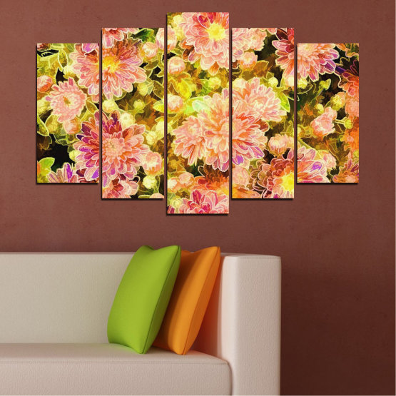 Canvas prints & wall decorative panels - 5 pieces №0673 » Pink, Green, Yellow, Orange, Beige » Flowers, Collage, Spring, Bouquet Form #1