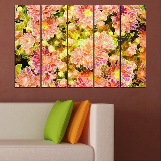 Canvas prints & wall decorative panels - 5 pieces №0673 » Pink, Green, Yellow, Orange, Beige » Flowers, Collage, Spring, Bouquet Form #2